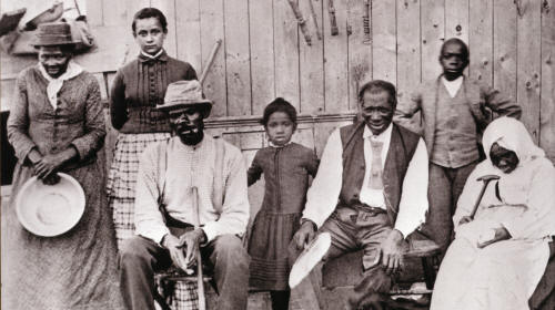 Harriet Tubman with family and friends